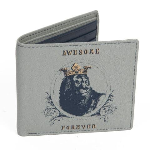 Men's Grey Leather Wallet Gift 'Awesome Forever' Fathers Day & Birthday gift for men