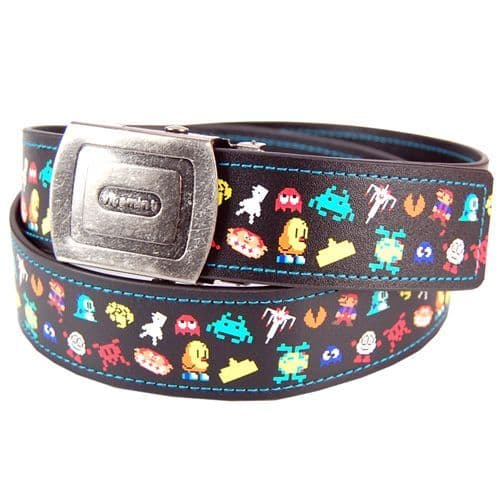 Mens Computer Pixel Character Belt - Space Invader Pacman Retro Gaming Belt Gift