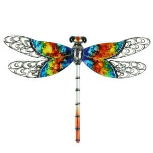 Metal Dragonfly Garden and Home Ornament - Multicoloured Metal Wall Art Ornament for the Garden