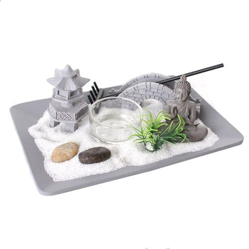 Mini Zen Garden Kit - Desktop Zen Garden Candle Holder With Buddha Figurine