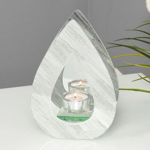 Mirror Glitter Teardrop Candle Holder  - Contemporary White and Silver Tealight Holder Ornament