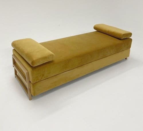 Modern Minimalist Double Day Bed Stacking Sofa Contemporary Velvet Settee in Ochre Mustard