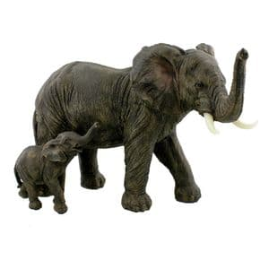 Mother and Baby Elephant Statue Figurine Home Decor Ornament