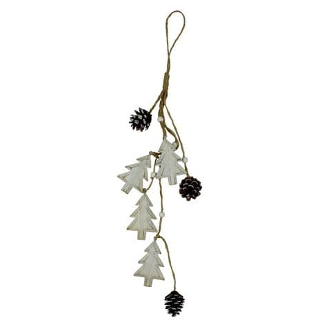 Natural Wooden Christmas Tree Garland - Rustic Christmas Decoration Bunting Hanging Trees and Cones