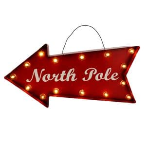 North Pole Light Up Sign - Industrial style metal christmas sign - Red LED North Pole Christmas Sign