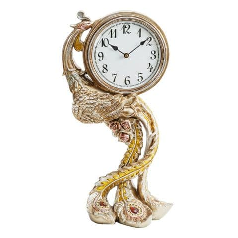 Ornate Bronze Finish Luxury Peacock Mantel Clock With Red Crystals
