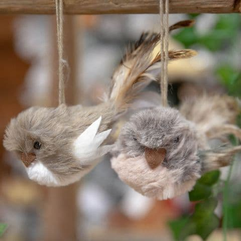 Pair Of Fluffy Birds Hanging Christmas Tree Decorations