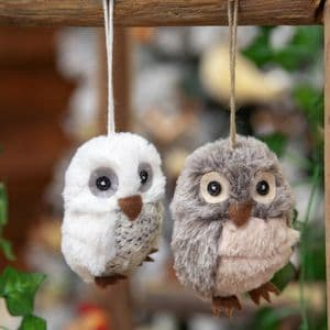 Pair Of Fluffy Owls Hanging Christmas Tree Decorations