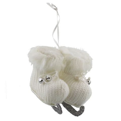 "Pair Of Ice Skates Christmas Tree Ornament - 3"" White Ice Skates Hanging Ornament"