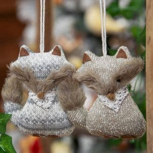 Pair Of knitted foxes Hanging Christmas Tree Decorations