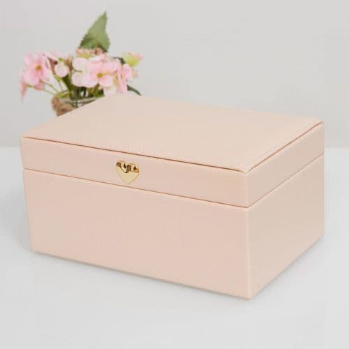 Pale Blush Pink Jewellery Box With Rose Gold Heart Clasp Medium Size
