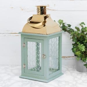 Pale Green Wooden Lantern - Sand Dunes By Vicky Yorke