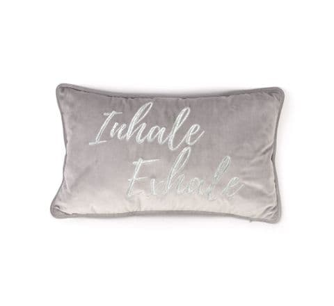 Pale Grey  Velvet Scatter Cushion With Silver Embroidery 'Inhale Exhale'
