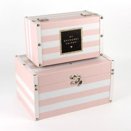 Pale Pink Stripe Pretty Decorative Storage Boxes Set Of 2