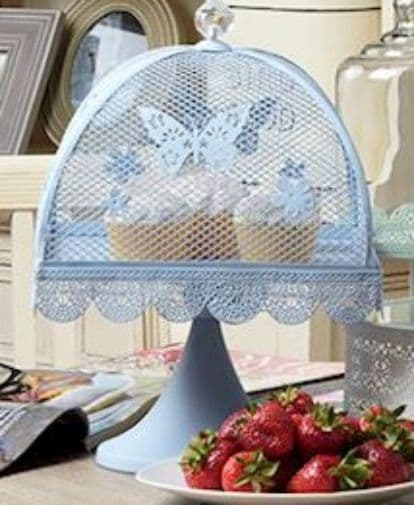 Pastel Blue Ornate Cake Stand With Butterfly Crysal Decoration - Special Occasion Cake Stand