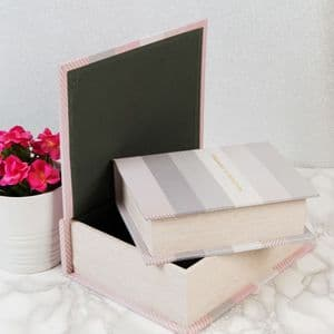 Pastel Grey and Pink Storage Boxes Set Of 2  Wooden Storage Boxes For Home and Office