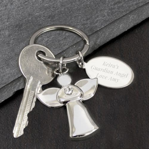 Personalied Guardian Angel Silver Plated  Keyring gift