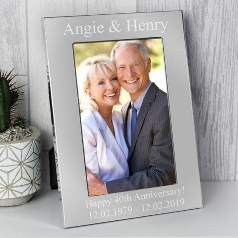 Personalised 4x6 Silver Photo Frame Gift Idea For Anniversary Wedding Birthdays