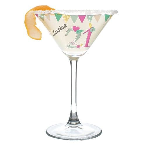 Personalised Birthday Cocktail Glass Gift - Any Age Any Name
