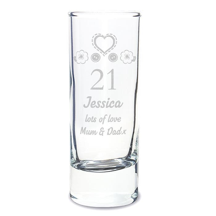 Personalised Birthday Shot Glass Gift Engraved With Any Age, Name and message
