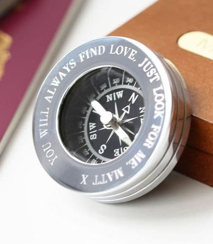 Personalised Chrome Compass In Wooden Box Unique Engraved Gift For Men
