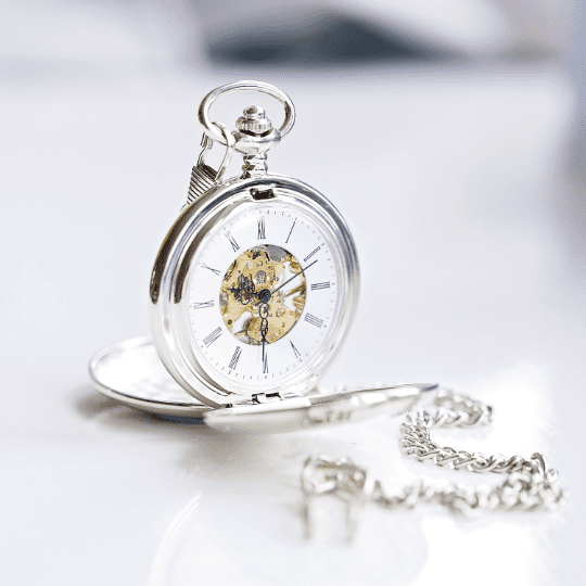 Personalised Dual Opening Pocket Watch Quality Engraved Gift For Men.  Skeleton View Mechanical Wind Up Silver Pocket Watch