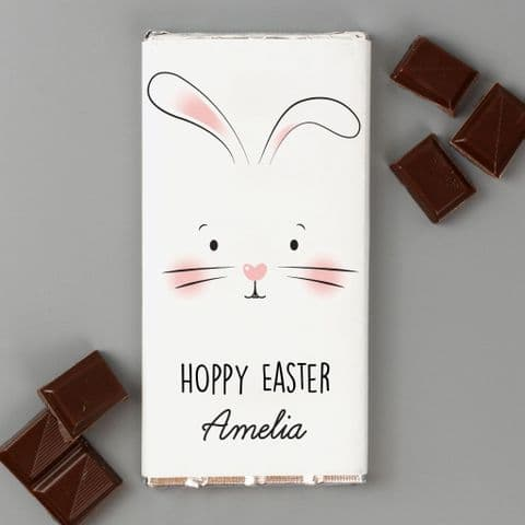 Personalised Easter Bunny Chocolate Bar - Milk Chocolate Easter Gift