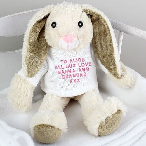 Personalised Easter Bunny Gift with Pink Embroidery Message.  A perfect gift idea for Baby's first Easter.