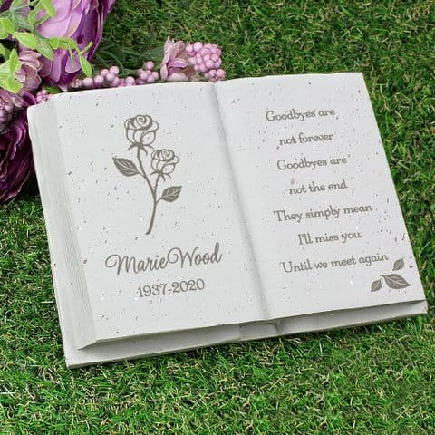 Personalised Engraved Memorial Rose Book Grave and Garden Stone Ornament Tribute