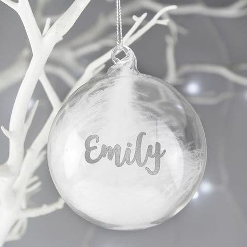 Personalised Glass Christmas Bauble With White Feather - Silver Glitter Any Name Gift