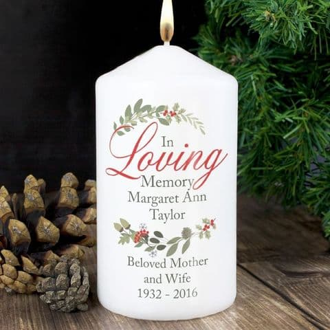 Personalised In Loving Memory Christmas Memorial Candle