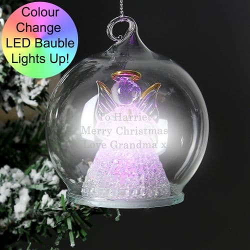 Personalised Light Up Christmas Tree Bauble Glass Angel Colour Changing LED Decoration