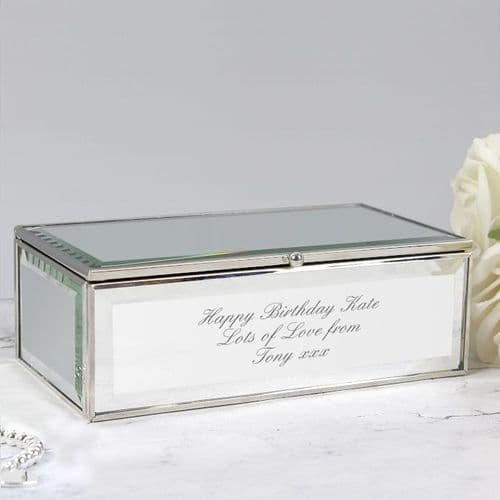 Personalised Mirrored Jewellery Box Engraved With Any Message