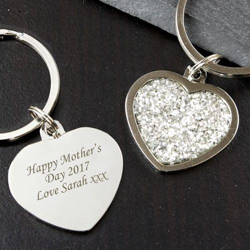 Personalised Silver Diamante Heart Bag Charm or Keyring Gift