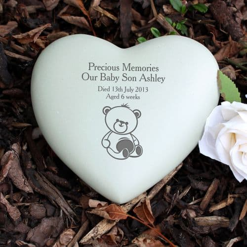 Personalised Teddy Bear Heart Memorial Stone Grave and Garden Ornament Tribute