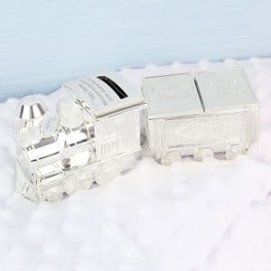 Personalised Train Money Box with 1st Tooth and Curl Trinket Box Gift for Baby
