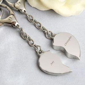 Personalised two hearts matching keyrings anniversary valentines friendship gift