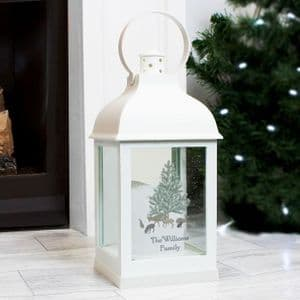 Personalised White Flameles Candle Lantern - White Lantern with realistic  flickering flame candle
