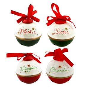 Personalized Christmas Bauble Red & Green Mother Daughter Sister Grandma Tree Decoration