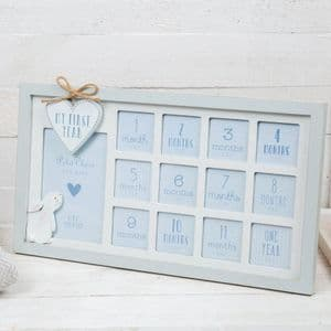 Petit Cherie My First Year Wooden Photo Frame Blue