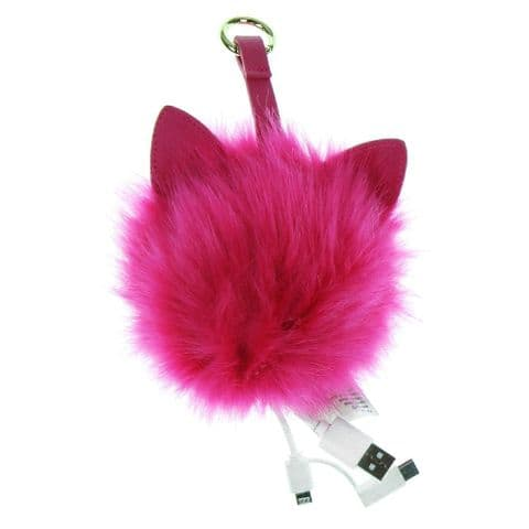 Pink Fur Pom Pom Powerbank Charger Micro USB Gift