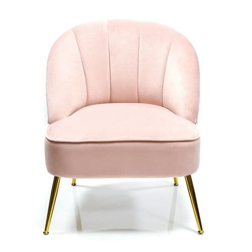 Pink Velvet Contemporary Cocktail Chair - Occasional Lounge or Bedroom Chair