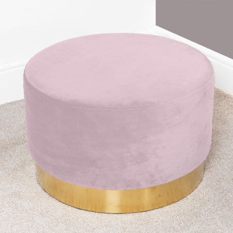 Pink Velvet Round Footstool With Gold Trim