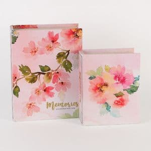 Pretty Floral Decorative Storage Boxes Book Shape Design Home Office Storage Boxes