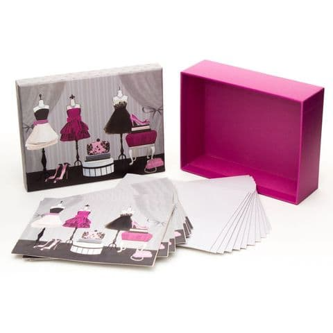 Pretty Set Of Note Cards = Fashion Inspired Design = Notelet gift set and writing set