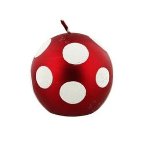 Red Bauble Style Christmas Candle with White Spots - Luxury Christmas Candle