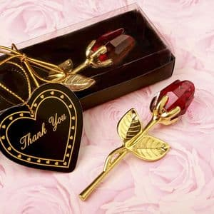 Red Crystal Rose With Gold Stem Table Favour Gift