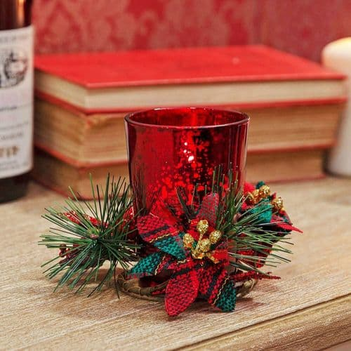 Red Glass Candle Holder in Gift Box With Tartan Ribbon