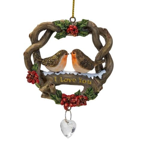 Robins In Nest 'I Love You' Christmas Hanging Plaque Ornament