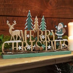 Rustic Wooden Merry Christmas Mantel Sign Plaque Woodland Theme